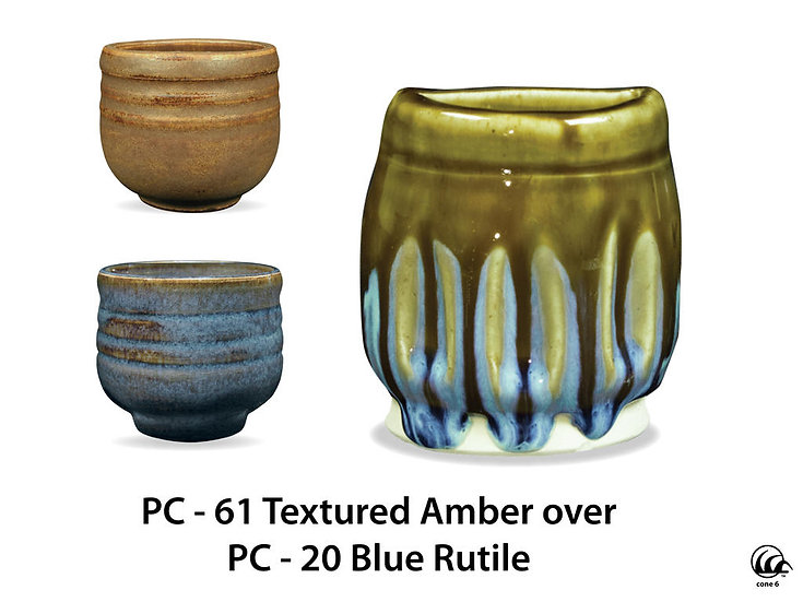 PC-61 Textured Amber OVER PC-20 Blue Rutile Glazes