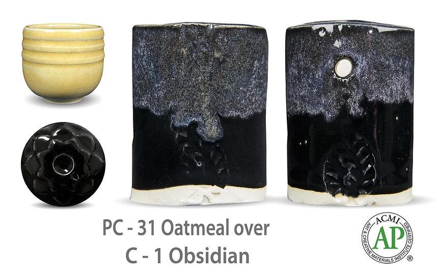 PC-31 Oatmeal OVER C-1 Obsidian glazes