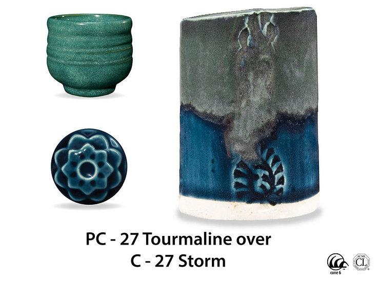 PC-27 Tourmaline OVER C-2 Storm glazes