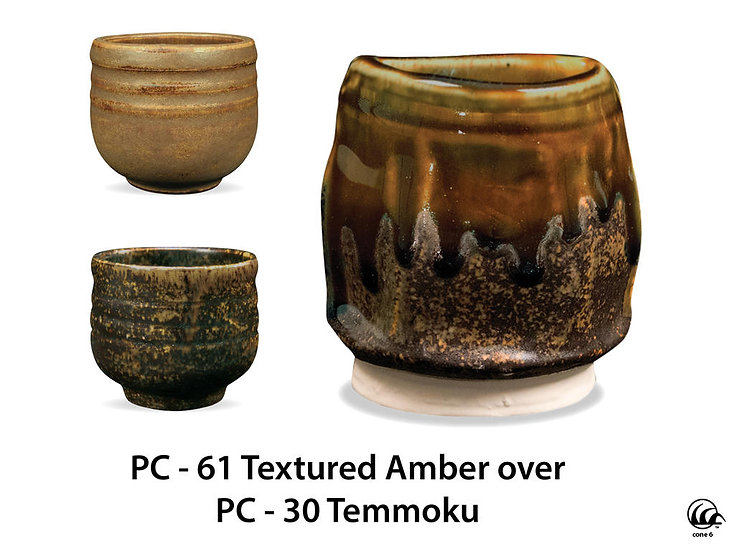PC-61 Textured Amber OVER PC-30 Temmoku Glazes