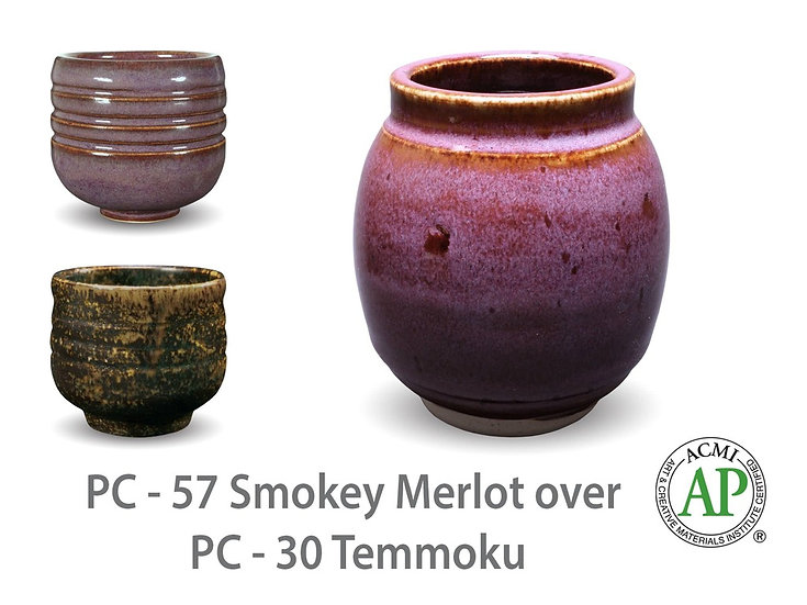 PC-57 Smokey Merlot OVER PC-30 Temmoku Glazes