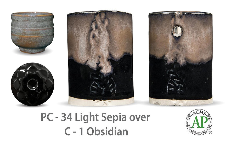 PC-34 Light Sepia OVER C-1 Obsidian glazes