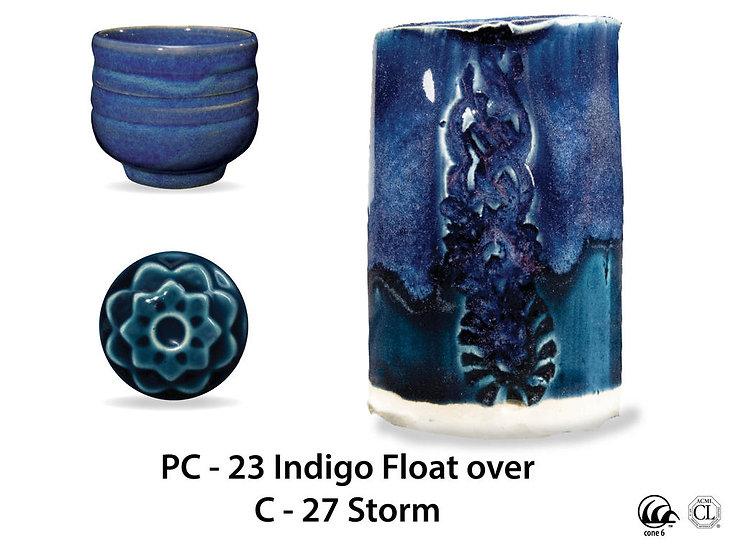 PC-23 Indigo Float OVER C-2 Storm glazes