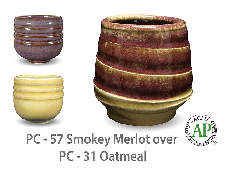 PC-57 Smokey Merlot OVER PC-31 Oatmeal Glazes