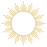 Line work image of a yellow sun.