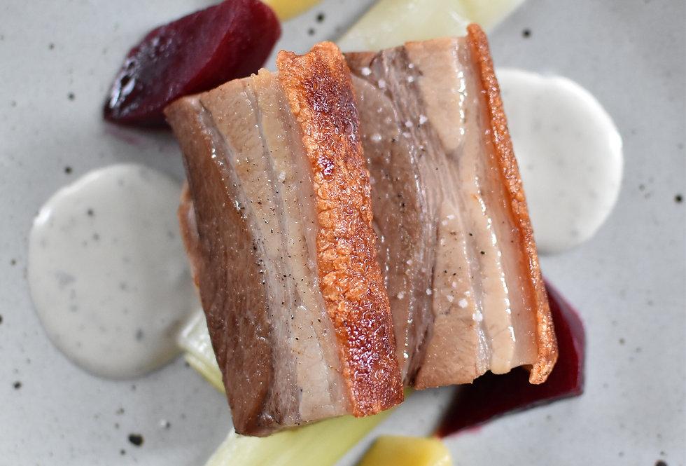 Roasted Pork Belly, Steamed Leek, Beetroot,  Apple Compote, Blue Cheese Sauce