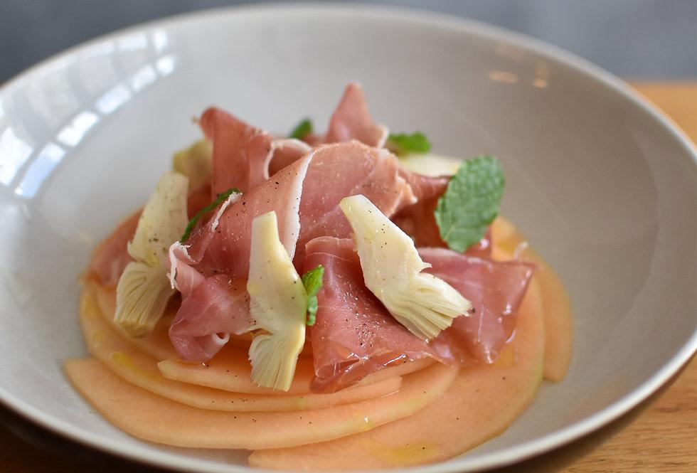 Melon, Serrano Ham, Artichoke