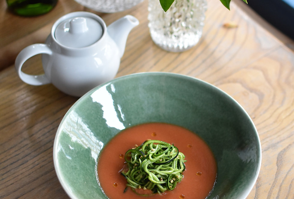 Tomato Gazpacho, Courgette Spaghetti with Basil Oil
