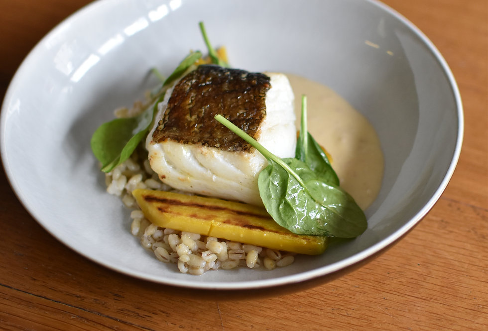 Cornish Cod, Yellow Carrot, Pearl Barley, Beurre Blanc