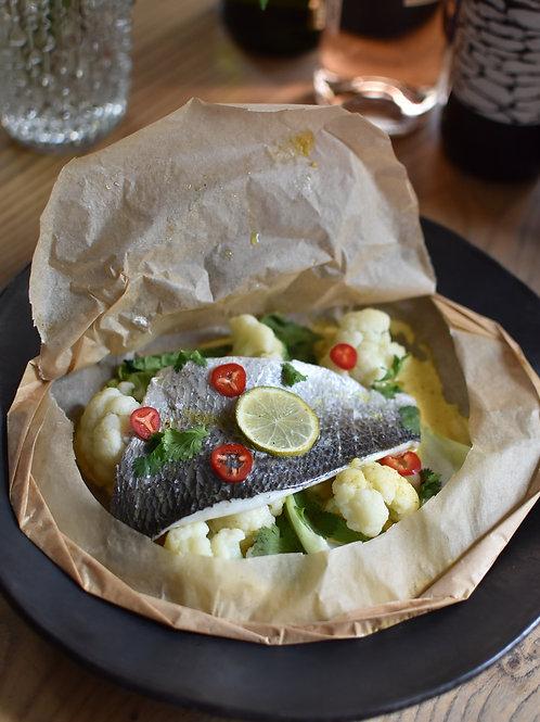 Sea Bream en Papillote, Cauliflower, Bok Choy, Coconut Curry Sauce