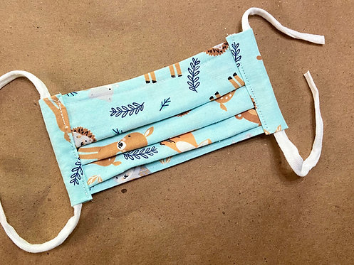 CHILD RTS Aqua WOodland Animals Fabric Pocket Mask