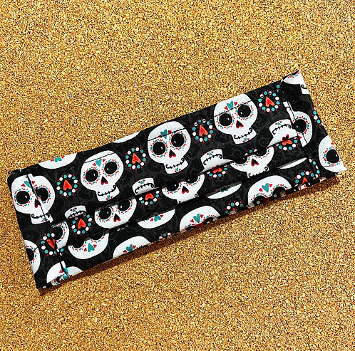ADULT RTS Sugar Skull Fabric Pocket Mask