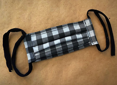 CHILD RTS Gray Buffalo Plaid Fabric Pocket Mask