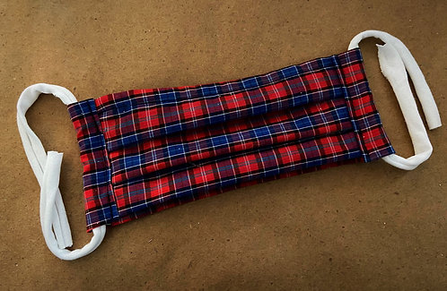 ADULT RTS Blue and Red Plaid Pocket Mask