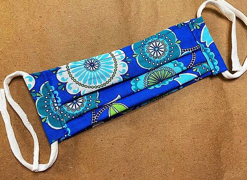 CHILD RTS Royal Blue Bold Floral Fabric Pocket Mask
