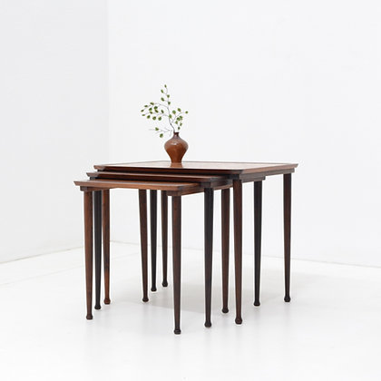 Rosewood Abstract Copper Inlay Nesting Tables - Mobelintarsia, Denmark, c. 1960s