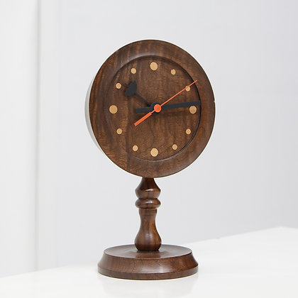 Turned Hardwood & Inlay Table Clock - Olswolds