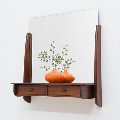 Teak Wall Mirror with Shelf & Drawer, Denmark, c. 1960s
