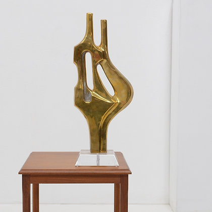 Large Abstract Brass Table Sculpture, Alain Charvet Attrib, France, c. 1970s