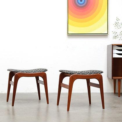 Danish Modern Teak Footstools, c. 1960s