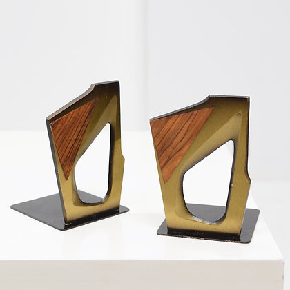 Brass and Rosewood Bookends, Dayagi, Israel c. 1960s