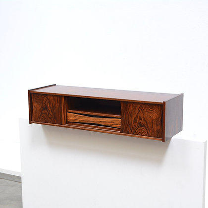 Danish Modern Floating Rosewood Mini Console Shelf Cabinet