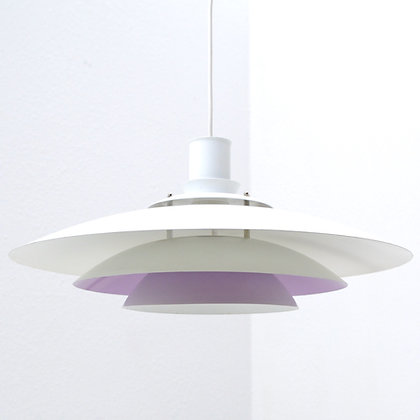 White & Lilac UFO Layered Pendant Lamp - Form Light, Denmark, c. late 1960s