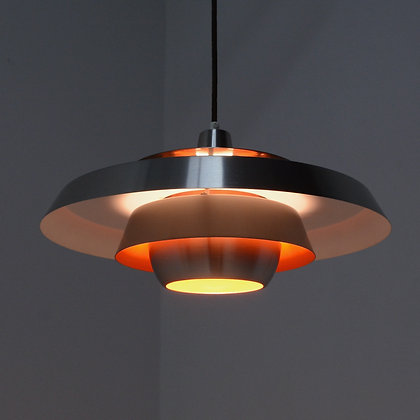 ON HOLD - Aluminum and Orange Pendant Lamp - Super Light, Denmark, c. late 1960s