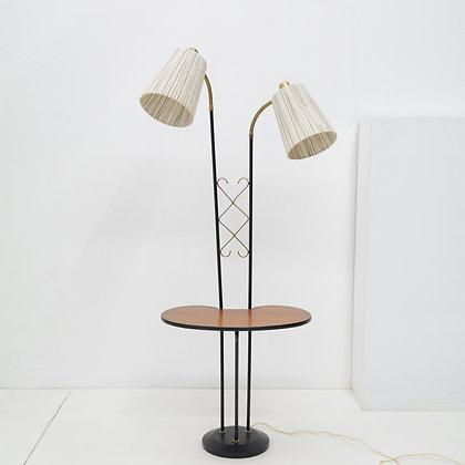 Teak, Iron, & Brass Lamp Table - Sweden, c. 1950s
