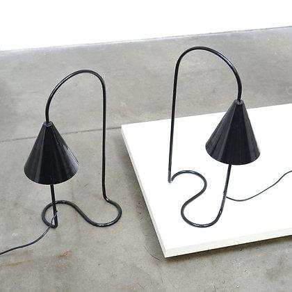 a Pair Danish Serpent Lamps