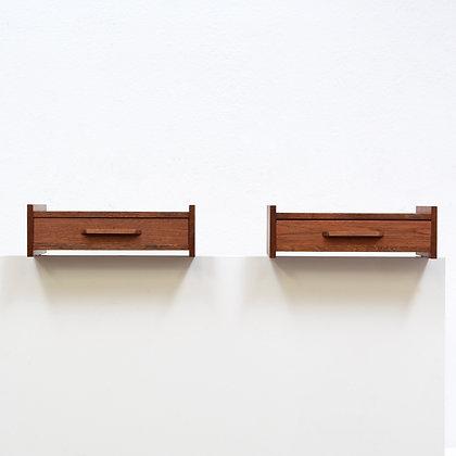 Pair Danish Modern Teak Floating Nightstand / Shelf Tables, c. 1960s
