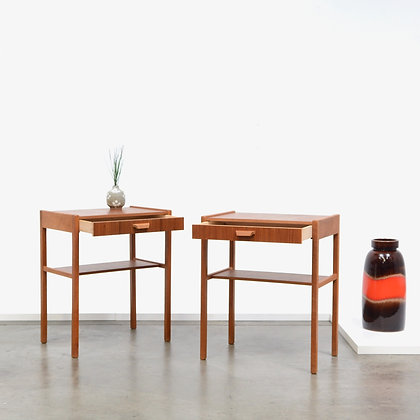 Pair Swedish Teak and Oak Nightstand Tables, c. 1960s