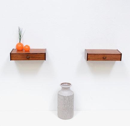 Pair Danish ModernRosewood Floating Nightstand / Shelf Tables, c. 1960s