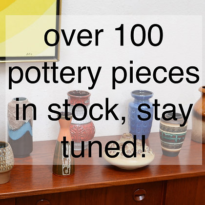 over 100 pieces of pottery in stock, stay tuned for more!