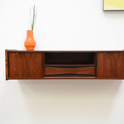 Danish Modern Floating Rosewood Mini Console Shelf Cabinet (5 avail), c. 1960s