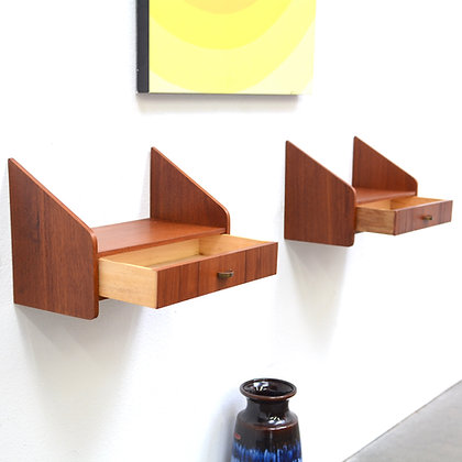 a pair of Danish Modern Floating Teak Nightstand Tables, c. 1960s