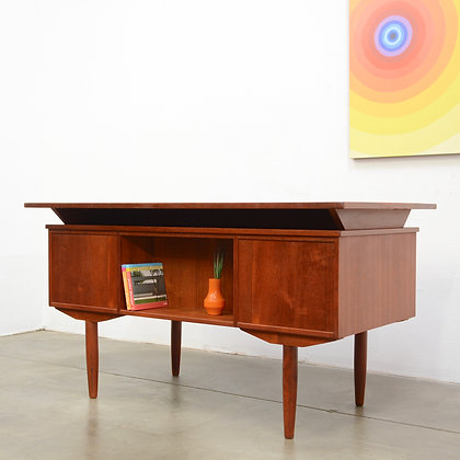 Danish Modern Raised Top Teak Desk, c. 1960s