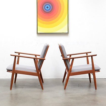a Pair of Solid Teak Danish Modern Lounge Chairs, Mogens Kold, c. 1950s
