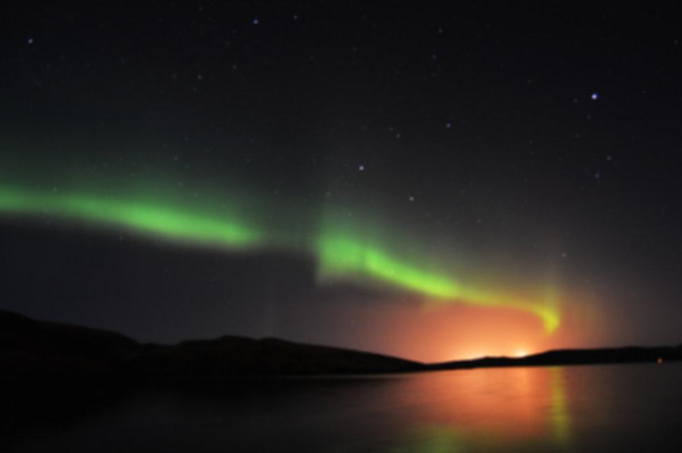 Northern lights on Shetland Islands, Sco