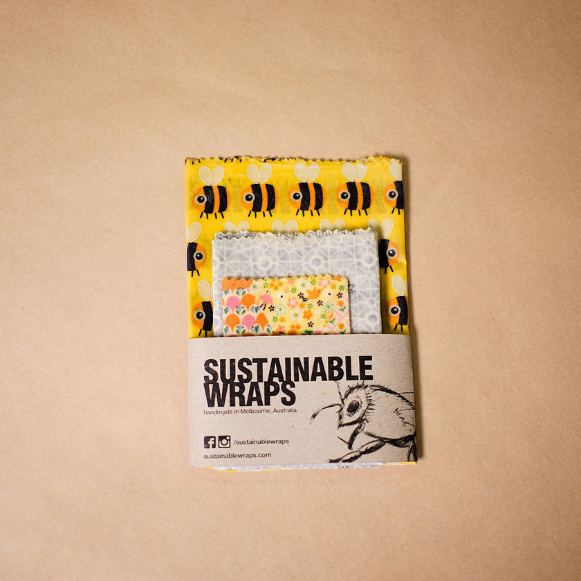 a pack of 3 Sustainable Wraps with bee pattern