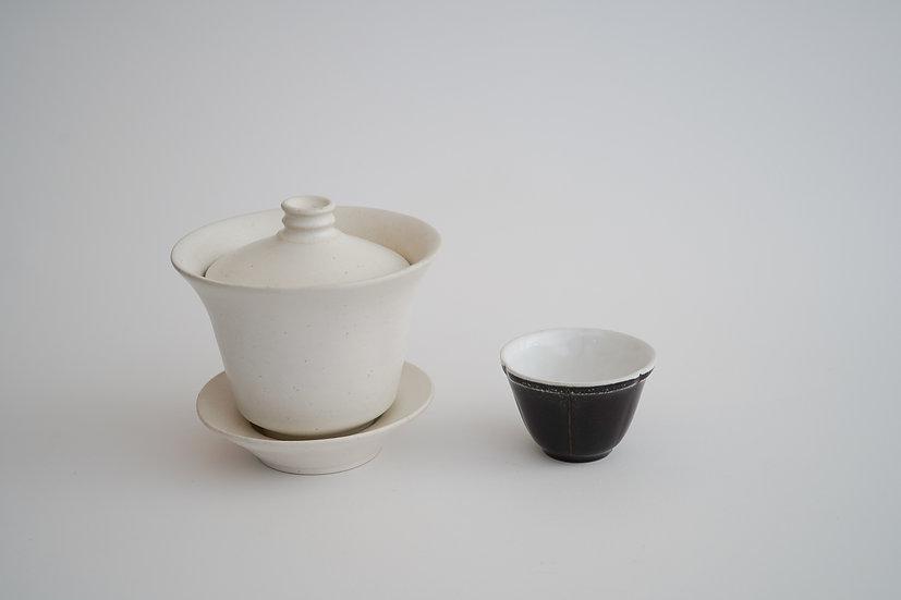 【田中直純】蓋碗・大/鉄釉輪花茶杯