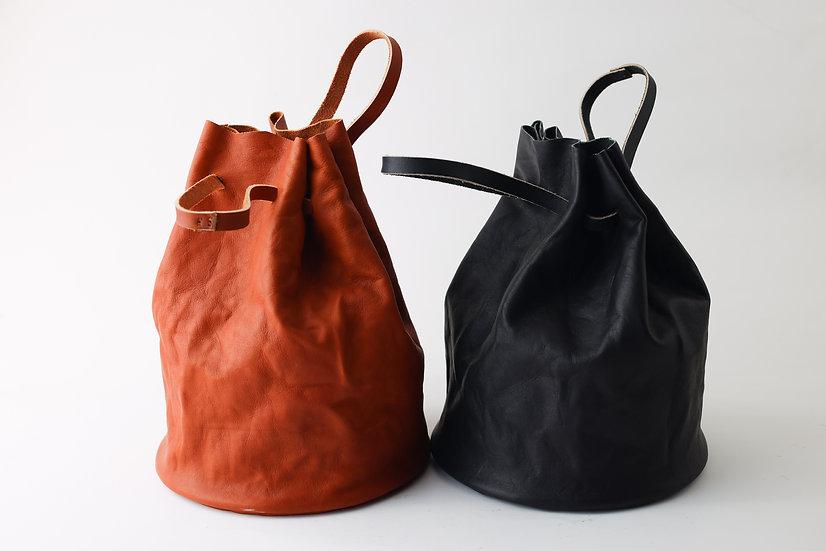 【見目英】鉄炉革袋・黒B / 茶
