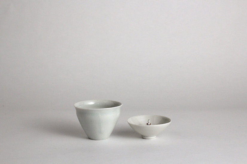 【崔在皓チェジェホ】白磁湯のみ・人形/白磁茶杯・人形