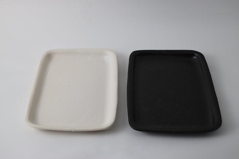 【中村豊実】耐火長方皿 270*190 白/黒