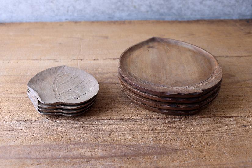 【古い道具】木の葉皿・桃皿