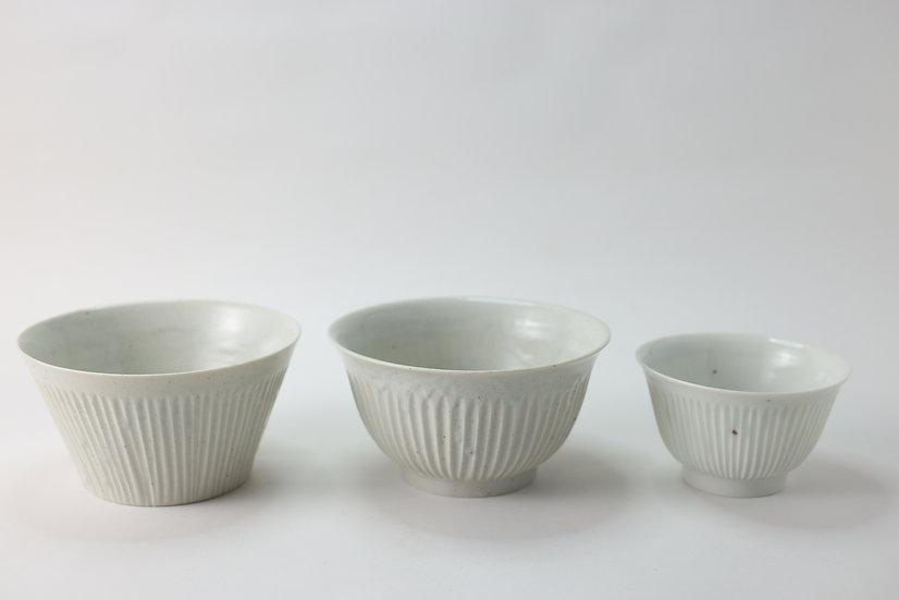 【竹下努】青白磁広口鎬深鉢/青白磁鎬縁反碗/青白磁鎬縁反飯碗