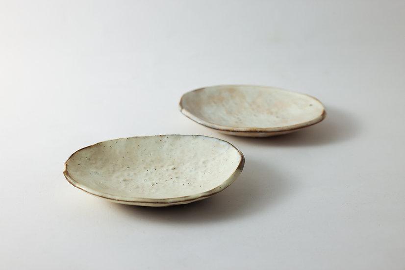 【花岡隆】粉引石目楕円小皿(HY-42)