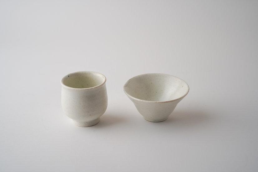 【髙木剛】白磁茶杯・筒/平(TG4-44/45)