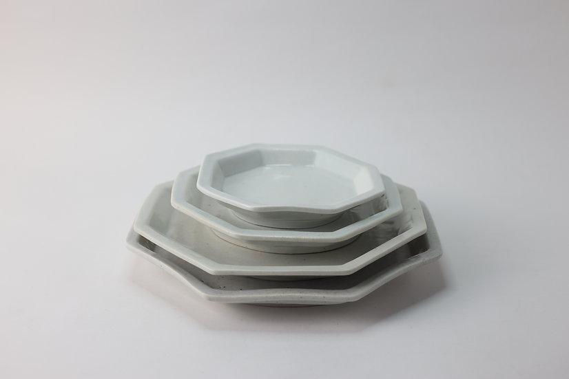 【竹下努】青白磁八角皿・5寸/6寸/7寸/8寸