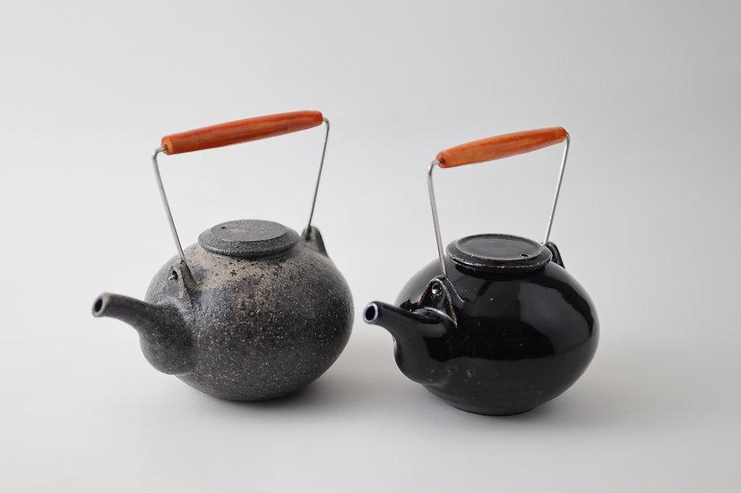 【角掛政志】そば粉引土瓶/黒つや土瓶・小